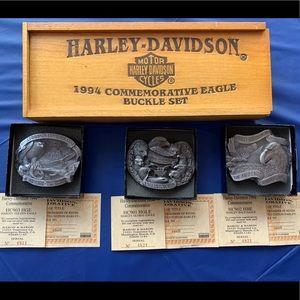 Harley Davidson Collector set of belt buckles.